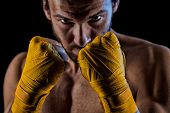 pic of strength  - Boxing man ready to fight - JPG