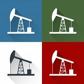 picture of derrick  - Oil derrick flat icon with long shadow - JPG