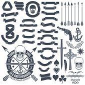 pic of crossed pistols  - Set of vintage elements to create logo - JPG