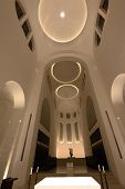 picture of church interior  - Modern white church interior with altar and lights - JPG