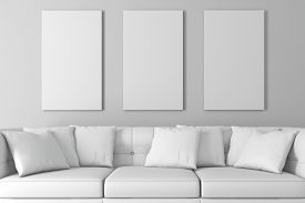 picture of couch  - 3d interior setup with couch and blank poster - JPG