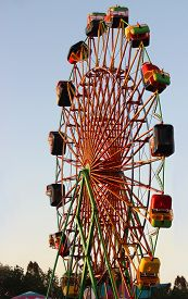 picture of carnival ride  - Silhouette of Carnival Ride during state fair - JPG