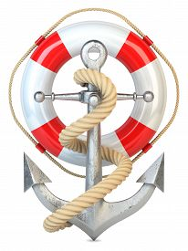 pic of anchor  - Anchor lifebuoy and rope isolated on white background 3d - JPG