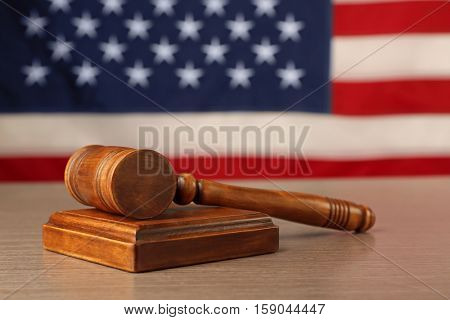 Judge gavel and soundboard on
