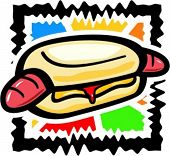 image of hot dog  - Vector illustration of a hot dog - JPG