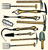 A set of 11 vector illustrations of gardening  tools. Check my portfolio for many more images.