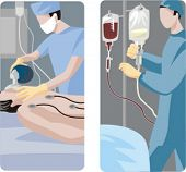 A set of 2 medical illustrations. 1) Surgeon preparing a patient for a surgical operation. 2) Doctor