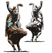 pic of bull-riding  - Illustration of a rodeo cowboy riding a bull - JPG