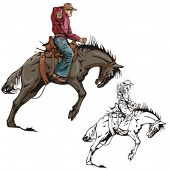 image of bareback  - Illustration of a rodeo cowboy riding a saddled horse - JPG