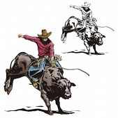 image of bull-riding  - Illustration of a rodeo cowboy riding a bull - JPG