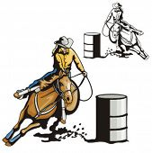 picture of barrel racing  - Illustration of a ladies - JPG