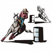 foto of barrel racing  - Illustration of a ladies - JPG