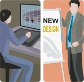 A set of 2 vector illustrations. 1) graphic designer using a tablet. 2) Advertisement designer.