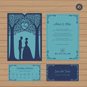 Wedding Invitation With Bride And Groom, And Tree. Paper Lace Envelope Template. Wedding Invitation poster