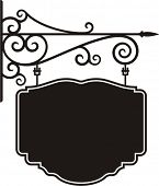 picture of wrought iron  - Exquisite hanging sign with ornamental details - JPG