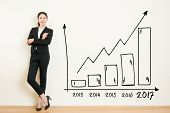 Business Woman Drawing Graph Showing Profit Growth poster
