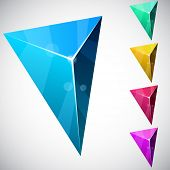 stock photo of triangular pyramids  - Color variation of triangular vivid pyramid - JPG