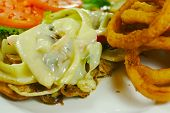 foto of cheesesteak  - Philly Cheese steak Sub with Onion Rings - JPG