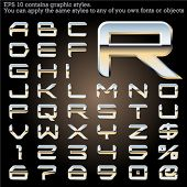 Chrome typeface. Sky reflected. File contains graphic styles available in the Illustrator 10 + You c