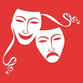 foto of drama  - drama masks with musical notes on end of tie  - JPG