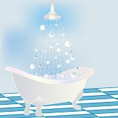 stock photo of clawfoot  - Stylized Bathtub with rain showerhead - JPG