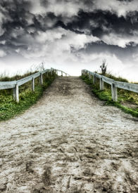 picture of dirt road  - Dirt road and dramatic skies HDR - JPG