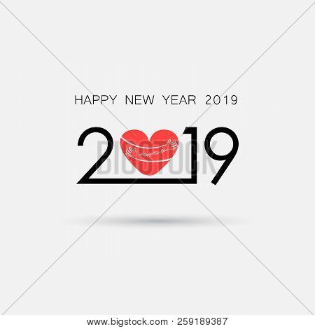 poster of 2,0,1 And 9 And Hand Sign With Holiday Background Concept.red Heart Sign And Happy New Year 2019 Typ