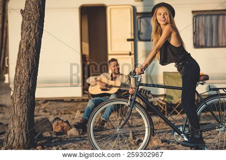 Selective Focus Of Happy Girl