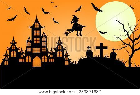 poster of Happy Halloween. A Halloween Cat In A Witch Hat Flies On A Broomstick Against The Full Moon At Night