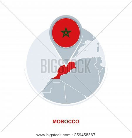 Morocco Map And Flag Vector