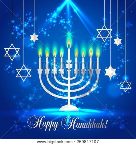 Happy Hanukkah Shining Background With