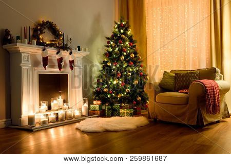 A Cozy Living Room Lighted With Numerous Lights Decorated Ready To