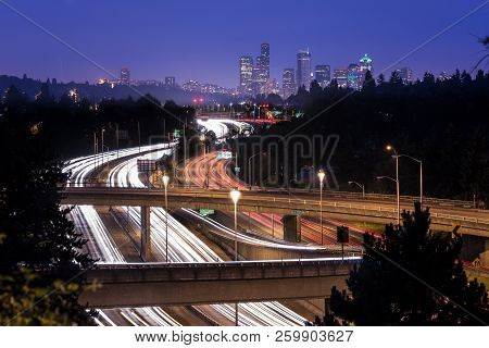 Interstate 5 And Downtown Skyline