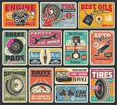 Car Service And Auto Center Vintage Signboard. Vector Retro Design Of Car Engine Oil Service, Tire F poster