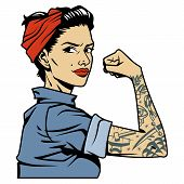Colorful Beautiful Strong Pin Up Girl With Tattoo On Arm In Vintage Style Isolated Vector Illustrati poster