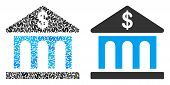 Bank Building Collage Of Dollar Symbols And Small Round Pixels. Vector Dollar Currency Symbols Are G poster