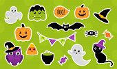 Halloween Stickers For Kids. Set Of Cute Cartoon Halloween Icons. Vector Illustration poster