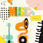 Music Colorful Background With Music Instruments Flat Vector Illustration. Artistic Music Festival P poster