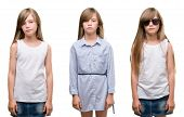 Collage of blonde girl kid over isolated background with a confident expression on smart face thinki poster