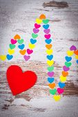 Electrocardiogram Line Of Colorful Paper Hearts And Red Heart On Old Rustic Background, Ecg Heart Rh poster