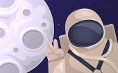 Vector Illustration Of Tourist Astronaut Taking Pictures Against The Background Of The Moon. Tourism poster