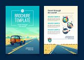 Vector Brochure Template With Desert Landscape. Travel Concept With Suv On Asphalt Way To Canyon, Wa poster
