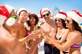 To The New Year! Happy Chilling Youth On Vacation, Celebrating Newyear In Hot Country, On Resort, Ha poster