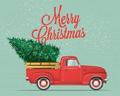 Merry Christmas And Happy New Year Postcard Or Poster Or Flyer Template With Retro Pickup Truck With poster