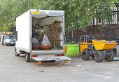 Skip Loading Dumper And Truck Loaded With Plants poster
