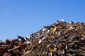 Heap Of Scrap Metal Stored For Recycling poster