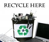 stock photo of reuse recycle  - recycle bin filled with old  - JPG