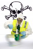stock photo of mayhem  - an Anarchist wearing a hazmat suit - JPG