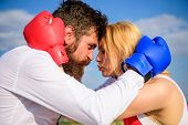 Fight For Your Happiness. Man And Girl Cuddle Happy After Fight. Couple In Love Boxing Gloves Hug Sk poster