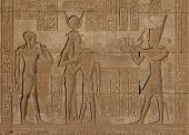 stock photo of ptolemaic  - Egyptian carving from Ptolemaic period on the Roman Birth House in Dendara - JPG